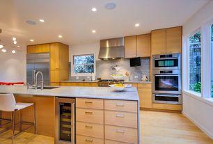 Modern Kitchen with C065-3 fixed white barstool, Pental Glacier Satin Quartzite, Dura Supreme Cabinetry Moda Horizontal