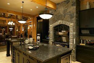 Rustic Kitchen with Hardwood floors, Pendant light, Flat panel cabinets, Simple granite counters, Exposed beam, One-wall