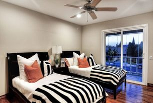 Contemporary Guest Bedroom with Ceiling fan, Hardwood floors