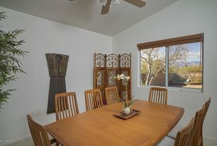 "Contemporary Dining Room with Solid Cherry ""Mission "" Dining Chairs, simple granite floors, Ceiling fan"