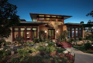 Asian Exterior of Home with Exterior chinese lantern sconce, Custom footbridge