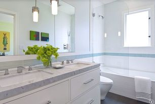 Contemporary Full Bathroom with Pendant light, Double sink, tiled wall showerbath, European Cabinets, Simple marble counters