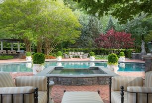 Traditional Swimming Pool with Pathway, exterior brick floors, Fence, Trellis, Bird bath, Pool with hot tub, Outdoor kitchen