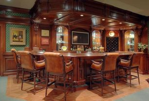 Traditional Bar with Standard height, Hardwood floors, can lights, Built-in bookshelf, Crown molding
