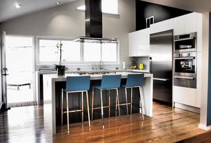 Contemporary Kitchen with Mazama hardwood - tropical collection acacia, Large Ceramic Tile, L-shaped, European Cabinets