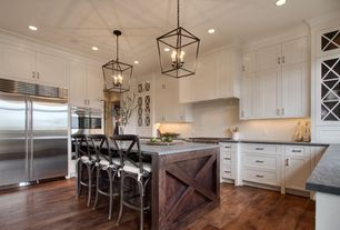 Contemporary Kitchen with Glass panel, Union square counter stool, Flat panel cabinets, Hardwood floors, Pendant light, Flush