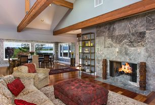 Contemporary Great Room with Exposed beam, High ceiling, picture window, Hardwood floors, Casement, can lights, Fireplace