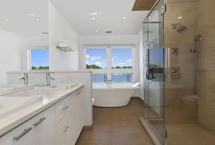 Contemporary Master Bathroom with Kitchen craft, Soho Cabinet Door Style, European Cabinets, Simple marble counters, Flush