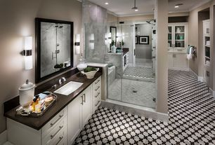 Traditional Master Bathroom with Soapstone counters, Paint 1, Flush, Double sink, Crown molding, Rain shower, Glass panel