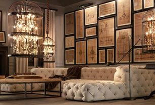 Contemporary Living Room with Hardwood floors, Chandelier, Crown molding, Restoration hardware soho tufted u-chaise sectional