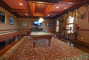 Traditional Game Room with Box ceiling, Wainscotting, Pendant light, Chair rail, Carpet, interior wallpaper