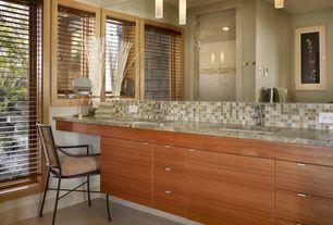 Contemporary Master Bathroom with Shower, Flush, frameless showerdoor, Standard height, Ceramic Tile, Wall Tiles, Double sink