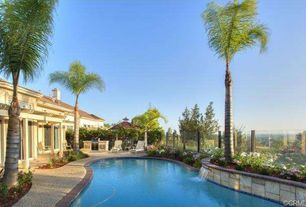 Mediterranean Swimming Pool with Raised beds, Trellis, Fence, exterior tile floors, Pathway, Outdoor kitchen