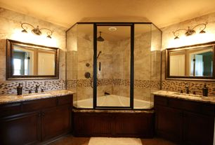 Craftsman Master Bathroom with Ceramic Tile, Murano mosaic decorative wall tile, tiled wall showerbath, Raised panel