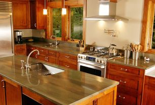 Craftsman Kitchen with Flush, Casement, Wall Hood, partial backsplash, Paint 1, Kitchen island, Sandstone counters, gas range