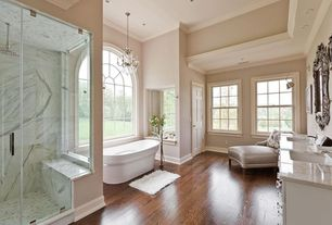 Traditional Master Bathroom with Double sink, Amerock BP29460CAS Abernathy Square Knob, Antique Silver, Crown molding