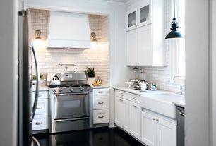 Traditional Kitchen with flush light, Wall sconce, Flat panel cabinets, Flush, Armstrong Terremora Black Vinyl tile Flooring