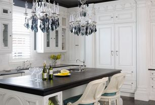 Traditional Kitchen with Savoy house florita chandelier, Inset cabinets, Farmhouse sink, L-shaped, Undermount sink