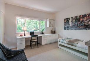 Modern Guest Bedroom with Carpet, Built-in bookshelf