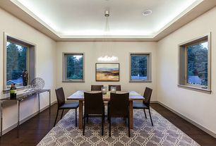 Contemporary Dining Room with Hardwood floors, Box ceiling, Chandelier