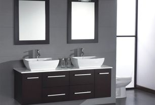 Modern Master Bathroom with Dupont Corian Designer White, Flush, Master bathroom, Vessel sink, Quartz counters, Double sink