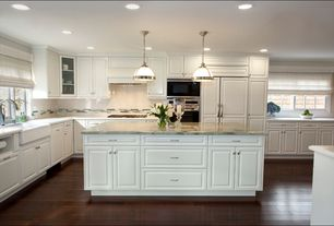 Traditional Kitchen with Dura supreme cabinetry arcadia classic, Glass panel, Casement, wall oven, Subway Tile, L-shaped
