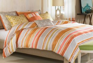 Contemporary Guest Bedroom with Wildcat Territory Aquarelle 8 Piece Duvet Cover Set, Alaterre Shaker Cottage Bench