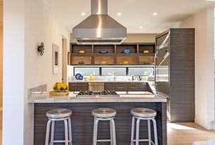 Modern Kitchen with Stainless vent hood, Walnut cabinetry, Under-cabinet windows, European Cabinets, Undermount sink, Flush