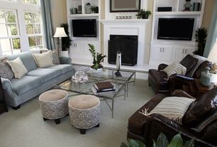 Contemporary Living Room with Fireplace, Carpet, Built-in bookshelf, Cement fireplace, double-hung window, Standard height