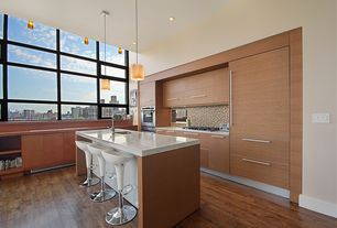 Contemporary Kitchen with Simple granite counters, Flush, full backsplash, L-shaped, Breakfast bar, double wall oven, Paint