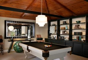 Contemporary Game Room with Exposed beam, Built-in bookshelf, Carpet, High ceiling, Pendant light