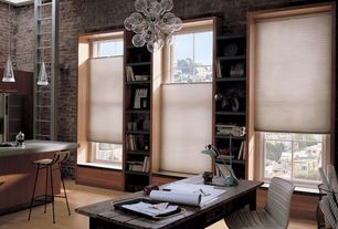 Eclectic Home Office with Hardwood floors, Pendant light, Chandelier, Standard height, double-hung window, interior brick