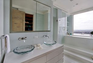 Contemporary Master Bathroom with Double sink, frameless showerdoor, Concrete tile , European Cabinets, Vessel sink