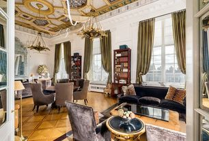 Traditional Living Room with Window seat, French doors, Chandelier, Exposed beam, Casement, High ceiling, Laminate floors
