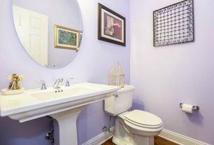 Traditional Powder Room with Pedestal sink, Feiss - Johnson White Matte Round Mirror, Powder room, specialty door