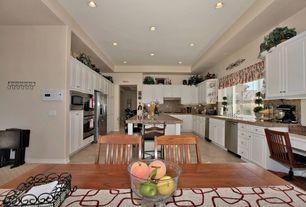 Traditional Kitchen with Simple Granite, Kitchen island, Custom hood, Undermount sink, Raised panel, U-shaped, Breakfast nook