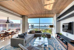 Contemporary Living Room with Usona home modular sofa 05260, Wood ceiling, picture window, Built-in bookshelf, flush light