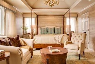 Traditional Master Bedroom with six panel door, High ceiling, Box ceiling, can lights, Carpet, Built-in bookshelf, Chandelier