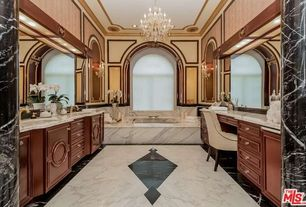 Traditional Master Bathroom with Chandelier, Inset cabinets, interior wallpaper, Graham Brown, interior wallpaper