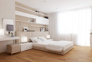 Contemporary Master Bedroom with Hardwood floors, Fabric bed with extra long and padded headboard, Built-in bookshelf