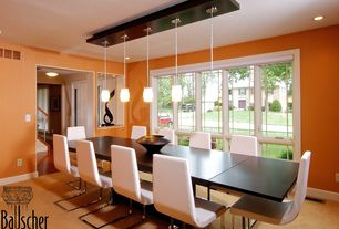 Contemporary Dining Room with Standard height, Pendant light, Casement, Carpet, can lights