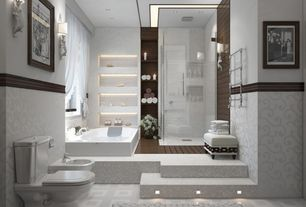 Contemporary Master Bathroom with ceramic tile floors, can lights, Standard height, Towel warmer, Shower, Bathtub, Casement