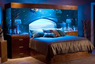 Eclectic Master Bedroom with Beacon Looms Radiance 100-Percent Solid 108-Inch by 96-Inch Silk Coverlet, Aquarium Bed