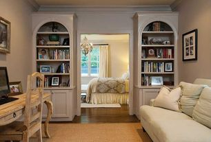 Traditional Home Office with Standard height, French country writing desk, Paint 2, Hardwood floors, Paint 1, Crown molding