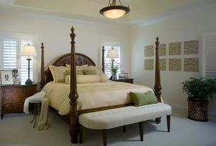 Traditional Master Bedroom with Carpet, Crown molding, flush light, High ceiling