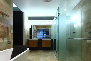 Contemporary Master Bathroom with Vessel sink, frameless showerdoor, Rain shower, Master bathroom, flush light, Freestanding