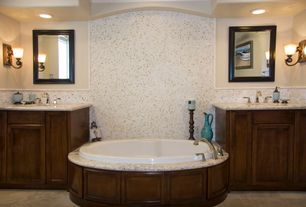 Traditional Master Bathroom with Oval top mount bathtub, Hitchcock framed wall mirror