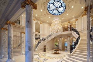 Traditional Staircase with Chandelier, can lights, Skylight, simple marble floors, High ceiling, Double staircase