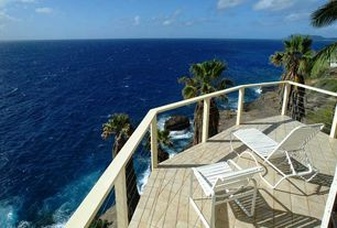 Tropical Deck with Deck Railing, exterior tile floors, exterior terracotta tile floors, Pathway