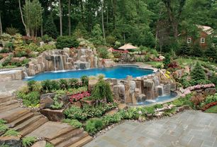 Rustic Landscape/Yard with Slate tile, Pool with hot tub, exterior stone floors, Pond, Pathway, Fountain, Raised beds